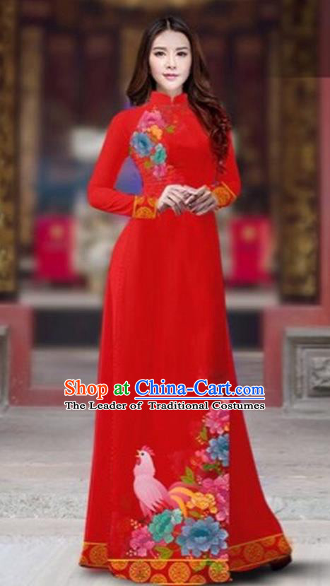 Traditional Top Grade Asian Vietnamese Costumes Classical Rooster Year Cheongsam, Vietnam National Ao Dai Dress Princess Red Full Dress for Women