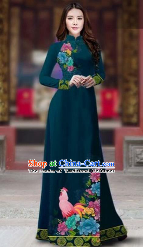 Traditional Top Grade Asian Vietnamese Costumes Classical Rooster Year Cheongsam, Vietnam National Ao Dai Dress Princess Atrovirens Full Dress for Women