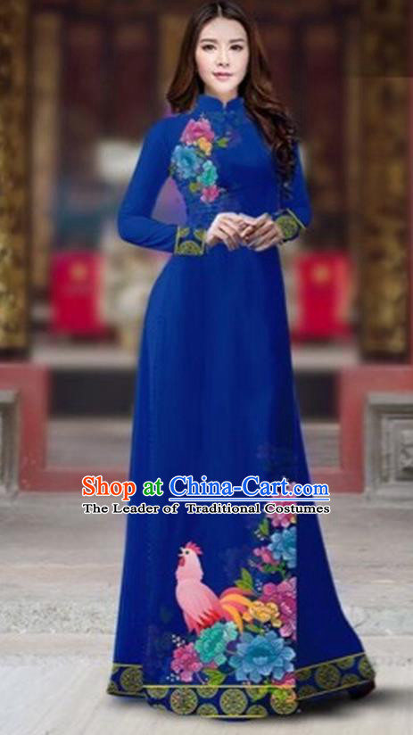 Traditional Top Grade Asian Vietnamese Costumes Classical Rooster Year Cheongsam, Vietnam National Ao Dai Dress Princess Blue Full Dress for Women
