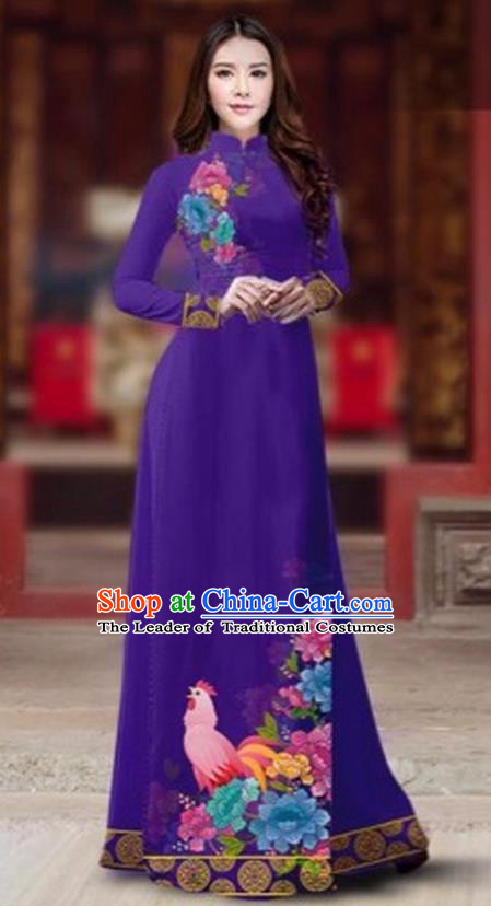 Traditional Top Grade Asian Vietnamese Costumes Classical Rooster Year Cheongsam, Vietnam National Ao Dai Dress Princess Purple Full Dress for Women