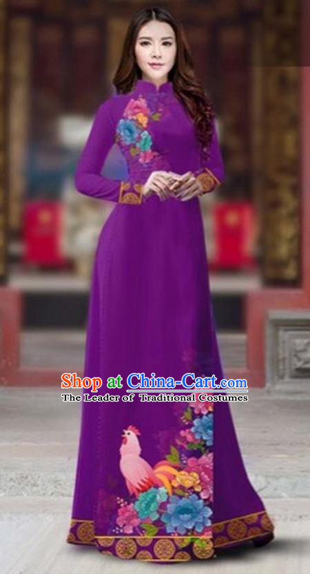 Traditional Top Grade Asian Vietnamese Costumes Classical Rooster Year Cheongsam, Vietnam National Ao Dai Dress Princess Violet Full Dress for Women