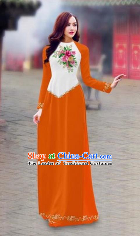 Traditional Top Grade Asian Vietnamese Costumes Classical Color Matching Cheongsam, Vietnam National Ao Dai Dress Printing Orange Full Dress for Women