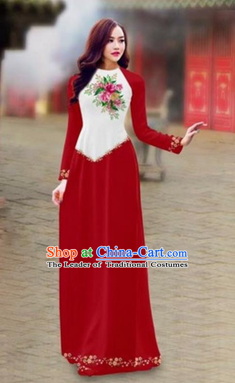 Traditional Top Grade Asian Vietnamese Costumes Classical Color Matching Cheongsam, Vietnam National Ao Dai Dress Printing Wine Red Full Dress for Women