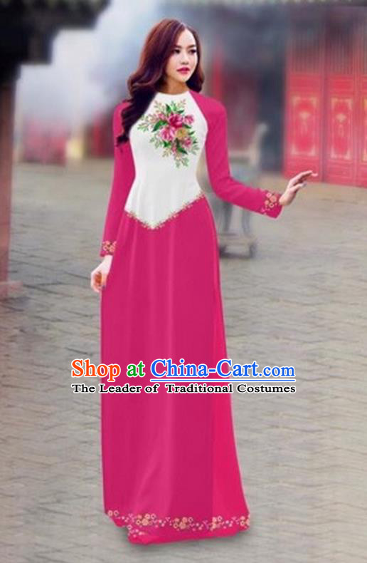Traditional Top Grade Asian Vietnamese Costumes Classical Color Matching Cheongsam, Vietnam National Ao Dai Dress Printing Pink Full Dress for Women