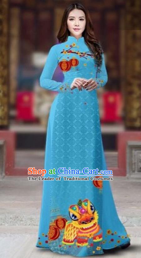 Traditional Top Grade Asian Vietnamese Costumes Classical Printing New Year Cheongsam, Vietnam National Ao Dai Dress Princess Blue Full Dress for Women