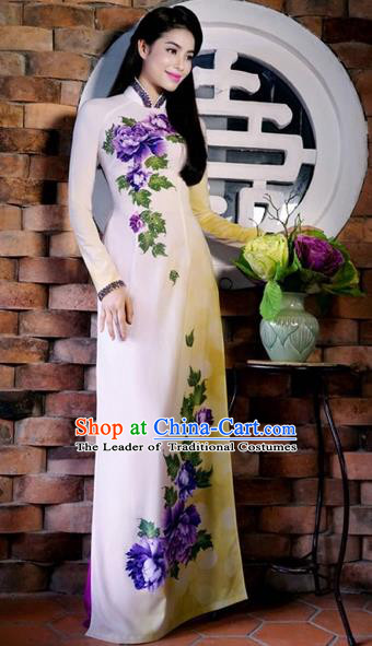 Traditional Top Grade Asian Vietnamese Costumes Classical Printing Peony Cheongsam, Vietnam National Ao Dai Dress Full Dress for Women
