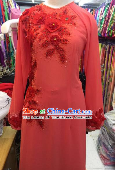 Traditional Top Grade Asian Vietnamese Costumes Classical Bride Wedding Embroidery Cheongsam, Vietnam National Red Ao Dai Dress for Women