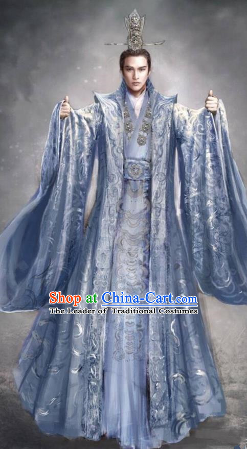 Traditional Chinese Ancient Shang Dynasty Palace King Costume, China Mythology Television Zhao Ge Ancient Imperial Emperor Embroidery Clothing and Headwear Complete Set for Men