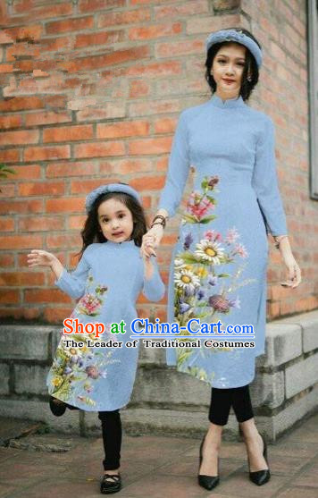 Traditional Top Grade Asian Vietnamese Costumes Classical Printing Daisy Flowers Dusty Blue Cheongsam, Vietnam National Mother-daughter Ao Dai Dress for Women for Kids