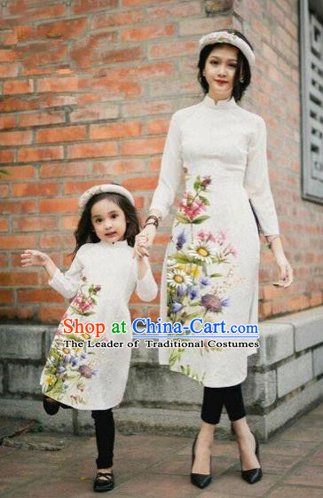 Traditional Top Grade Asian Vietnamese Costumes Classical Printing Daisy Flowers White Cheongsam, Vietnam National Mother-daughter Ao Dai Dress for Women for Kids