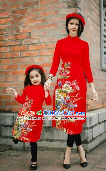 Traditional Top Grade Asian Vietnamese Costumes Classical Printing Daisy Flowers Red Cheongsam, Vietnam National Mother-daughter Ao Dai Dress for Women for Kids