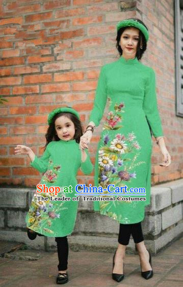 Traditional Top Grade Asian Vietnamese Costumes Classical Printing Daisy Flowers Green Cheongsam, Vietnam National Mother-daughter Ao Dai Dress for Women for Kids
