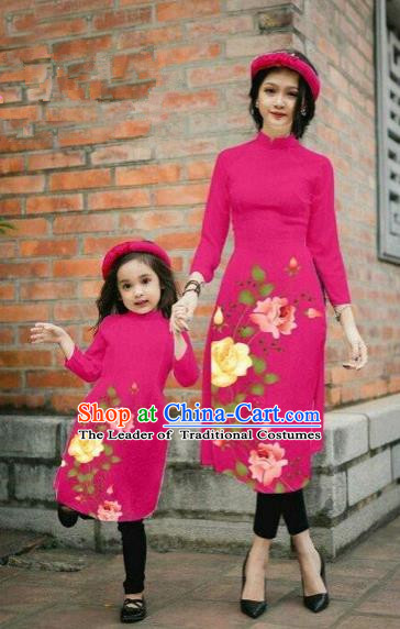 Traditional Top Grade Asian Vietnamese Costumes Classical Printing China Rose Flowers Rosy Cheongsam, Vietnam National Mother-daughter Ao Dai Dress for Women for Kids