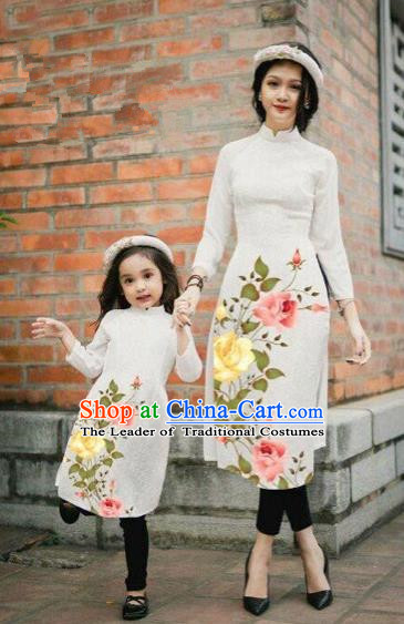 Traditional Top Grade Asian Vietnamese Costumes Classical Printing China Rose Flowers White Cheongsam, Vietnam National Mother-daughter Ao Dai Dress for Women for Kids
