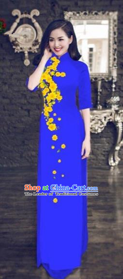 Traditional Top Grade Asian Vietnamese Costumes Classical Princess Printing Cheongsam, Vietnam National Vietnamese Bride Wedding Blue Ao Dai Dress for Women