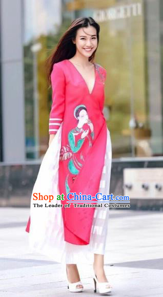 Traditional Top Grade Asian Vietnamese Costumes Classical Printing Rosy Short Cheongsam, Vietnam National Vietnamese Bride Ao Dai Dress for Women