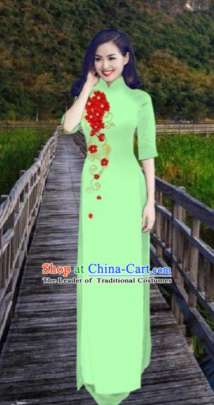 Traditional Top Grade Asian Vietnamese Costumes Classical Printing Light Green Cheongsam, Vietnam National Vietnamese Bride Ao Dai Dress for Women