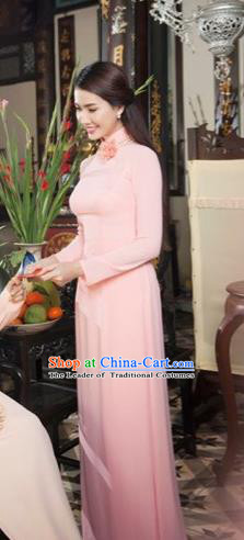 Traditional Top Grade Asian Vietnamese Costumes Classical Pink Cheongsam, Vietnam National Vietnamese Bride Ao Dai Dress for Women