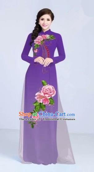 Traditional Top Grade Asian Vietnamese Costumes Classical Printing Flowers Cheongsam Dance Clothing, Vietnam National Vietnamese Bride Purple Ao Dai Dress for Women