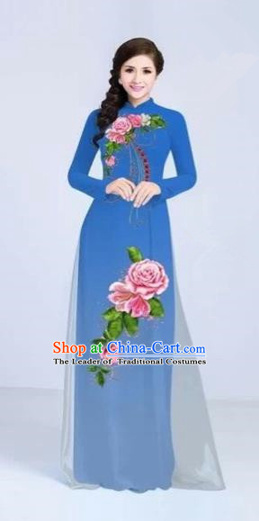 Traditional Top Grade Asian Vietnamese Costumes Classical Printing Flowers Cheongsam Dance Clothing, Vietnam National Vietnamese Bride Blue Ao Dai Dress for Women