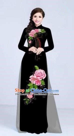 Traditional Top Grade Asian Vietnamese Costumes Classical Printing Flowers Cheongsam Dance Clothing, Vietnam National Vietnamese Bride Black Ao Dai Dress for Women