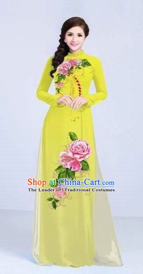 Traditional Top Grade Asian Vietnamese Costumes Classical Printing Flowers Cheongsam Dance Clothing, Vietnam National Vietnamese Bride Yellow Ao Dai Dress for Women