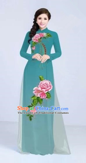 Traditional Top Grade Asian Vietnamese Costumes Classical Printing Flowers Cheongsam Dance Clothing, Vietnam National Vietnamese Bride Lake Blue Ao Dai Dress for Women