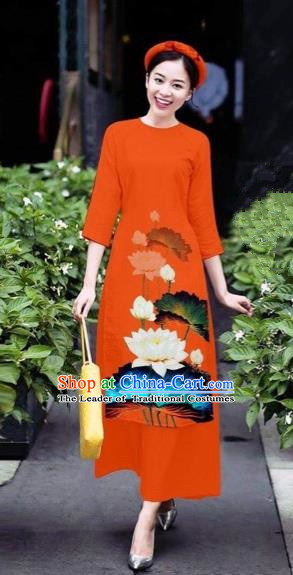Traditional Top Grade Asian Vietnamese Costumes Classical 3D Printing Flowers Cheongsam Dance Clothing, Vietnam National Vietnamese Orange Ao Dai Dress for Women
