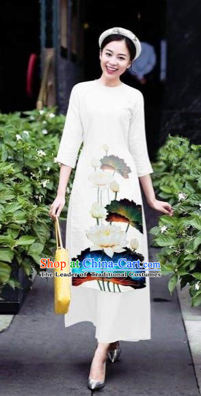 Traditional Top Grade Asian Vietnamese Costumes Classical 3D Printing Flowers Cheongsam Dance Clothing, Vietnam National Vietnamese White Ao Dai Dress for Women