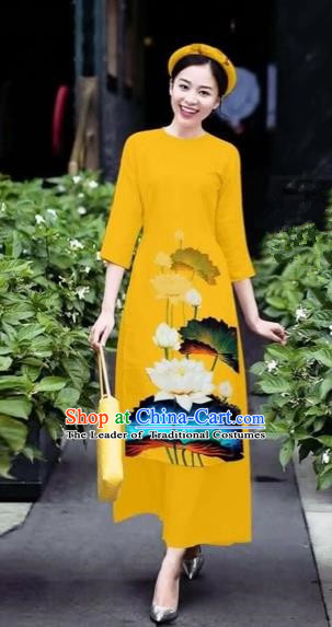 Traditional Top Grade Asian Vietnamese Costumes Classical 3D Printing Flowers Cheongsam Dance Clothing, Vietnam National Vietnamese Yellow Ao Dai Dress for Women