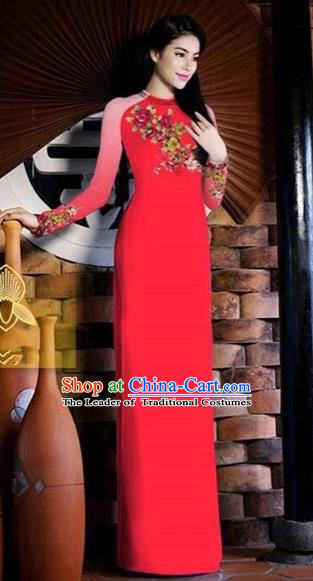 Traditional Top Grade Asian Vietnamese Costumes Classical Printing Toast Wedding Cheongsam, Vietnam National Vietnamese Bride Red Ao Dai Dress for Women