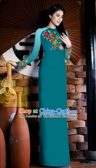 Traditional Top Grade Asian Vietnamese Costumes Classical Printing Toast Wedding Cheongsam, Vietnam National Vietnamese Bride Peacock Blue Ao Dai Dress for Women