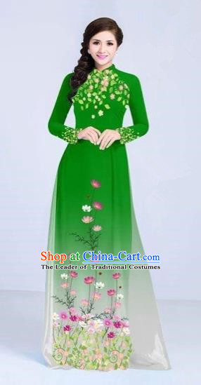 Traditional Top Grade Asian Vietnamese Costumes Classical Painting Flowers Cheongsam, Vietnam National Vietnamese Young Lady Green Ao Dai Dress