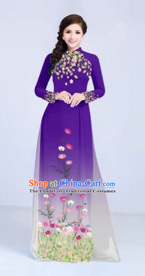Traditional Top Grade Asian Vietnamese Costumes Classical Painting Flowers Cheongsam, Vietnam National Vietnamese Young Lady Purple Ao Dai Dress