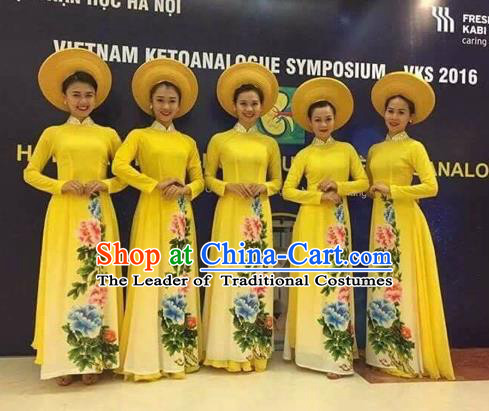 Traditional Top Grade Asian Vietnamese Costumes Classical Painting Cheongsam, Vietnam National Vietnamese Young Lady Ao Dai Dress Dance Clothing