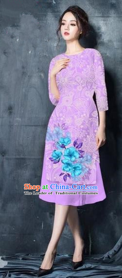 Traditional Top Grade Asian Vietnamese Costumes Classical Painting Short Lilac Cheongsam, Vietnam National Vietnamese Young Lady Ao Dai Dress