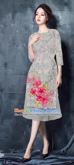 Traditional Top Grade Asian Vietnamese Costumes Classical Painting Short Grey Cheongsam, Vietnam National Vietnamese Young Lady Ao Dai Dress