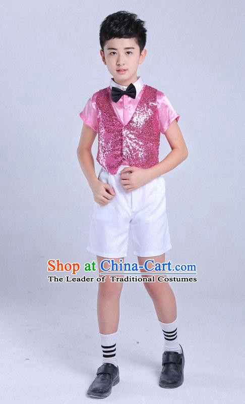 Top Grade Professional Performance Catwalks Costume, Children Chorus Clothing Modern Dance Pink Uniforms for Boys Kids