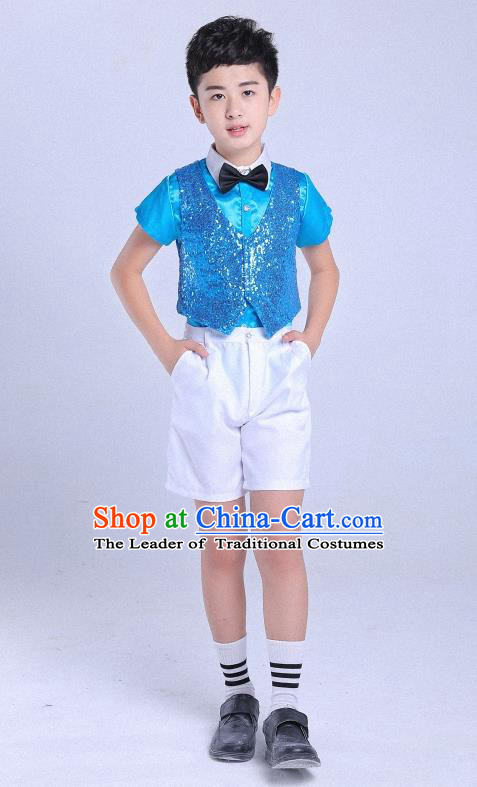 Top Grade Professional Performance Catwalks Costume, Children Chorus Clothing Modern Dance Blue Uniforms for Boys Kids