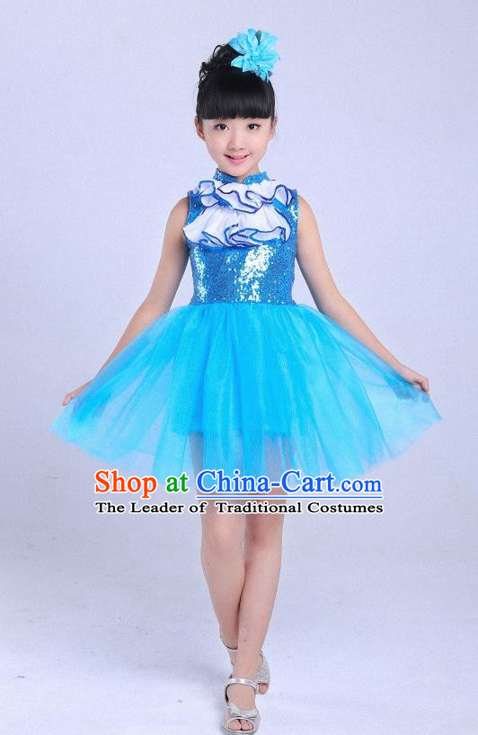 Top Grade Professional Performance Catwalks Costume, Children Chorus Full Dress Modern Dance Little Princess Blue Bubble Dress for Girls Kids