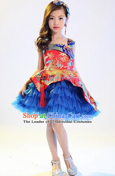 Top Grade Professional Performance Catwalks Costume, China Style Dragon Children Chorus Full Dress Modern Dance Little Princess Blue Bubble Dress for Girls Kids