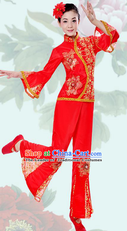 Traditional Chinese Classical Dance Yangge Fan Dancing Costume, Folk Dance Drum Dance Uniforms Yangko Red Clothing Set for Women