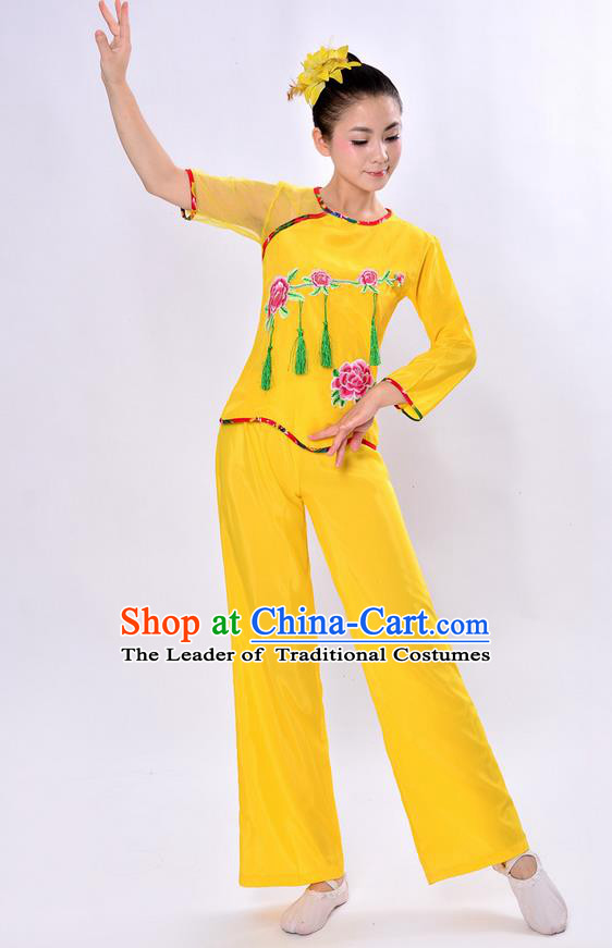 Traditional Chinese Classical Dance Yangge Fan Dancing Costume, Folk Dance Drum Dance Uniforms Yangko Yellow Clothing Set for Women