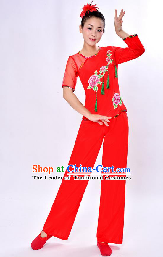 Traditional Chinese Classical Dance Yangge Fan Dancing Costume, Folk Dance Drum Dance Peony Uniforms Yangko Red Clothing Set for Women