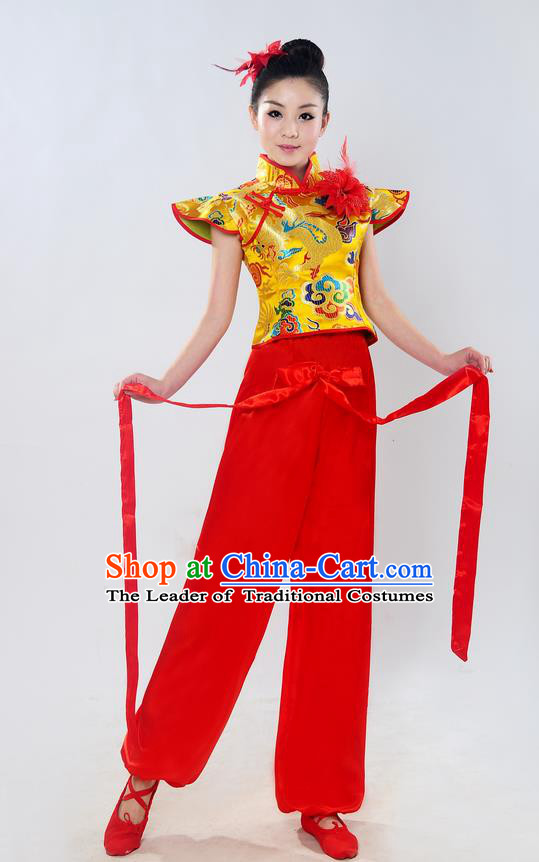 Traditional Chinese Classical Dance Yangge Fan Dance Costume, Folk Dance Drum Dance Uniform Yangko Sleeveless Clothing Complete Set for Women