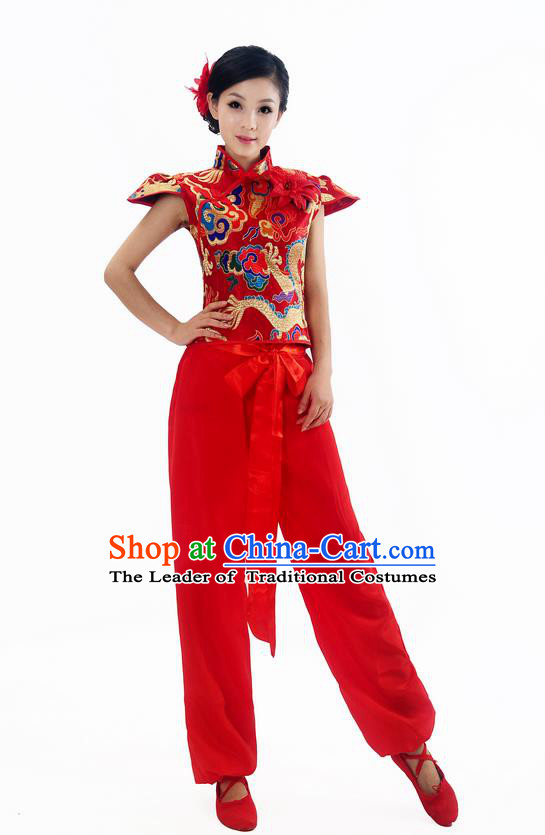 Traditional Chinese Classical Dance Yangge Fan Dance Costume, Folk Dance Drum Dance Red Uniform Yangko Sleeveless Clothing Complete Set for Women
