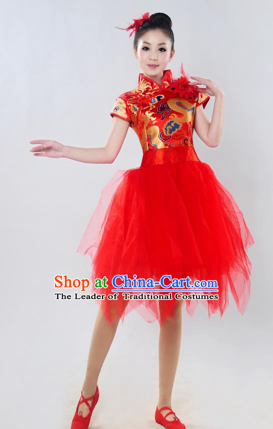 Traditional Chinese Classical Dance Yangge Fan Dance Costume, Folk Dance Drum Dance Uniform Yangko Red Bubble Dress for Women