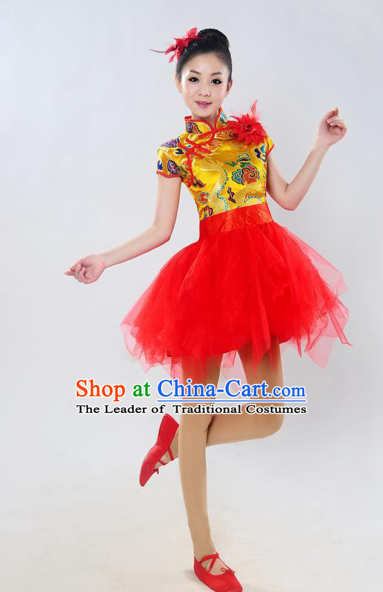 Traditional Chinese Classical Dance Yangge Fan Dance Costume, Folk Dance Drum Dance Uniform Yangko Golden Bubble Dress for Women