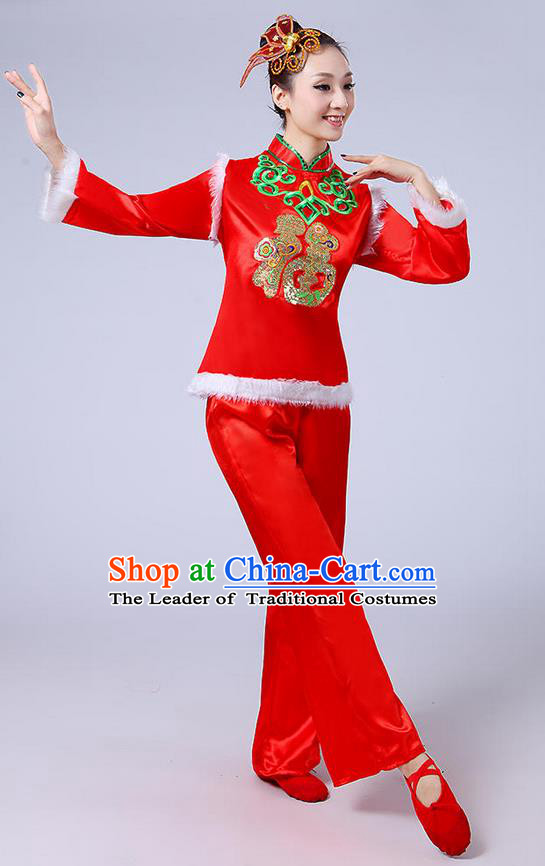 Traditional Chinese Classical Dance Yangge Fan Dancing Costume, Folk Dance Drum Dance Fur Uniforms Yangko Red Clothing for Women