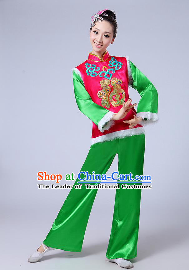 Traditional Chinese Classical Dance Yangge Fan Dancing Costume, Folk Dance Drum Dance Fur Uniforms Yangko Pink Blouse and Green Pants for Women